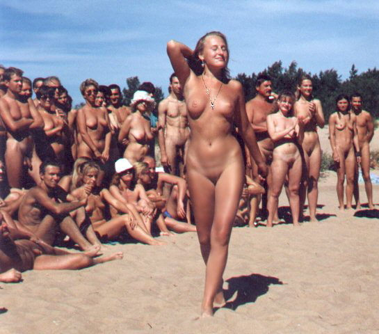 Nudist camp fashion week with gorgeous naked babes and shaved pussies walking like a damsel