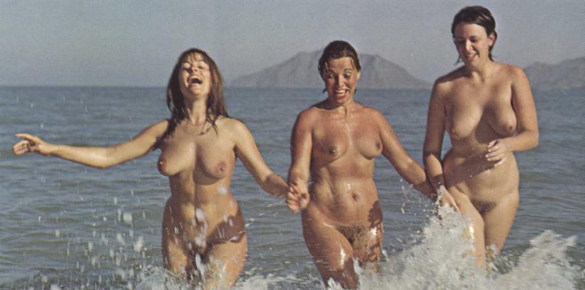 Old retro nudist youth threesome couple naked on beach