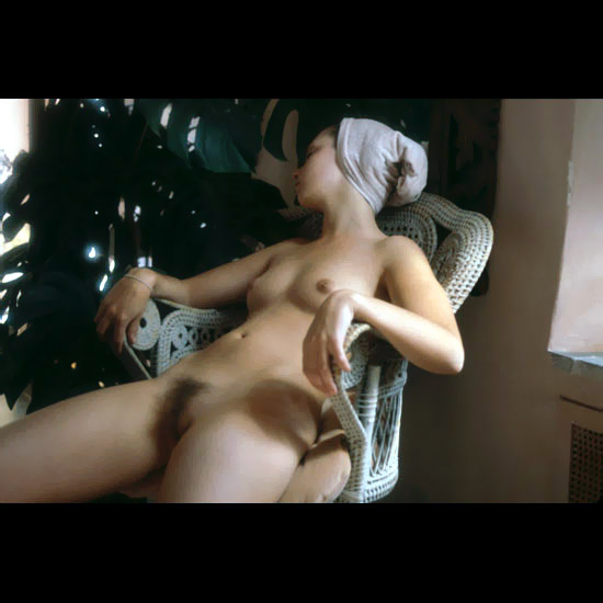 Sleeping hot young girl nude hairy juicy puss lays in the chair