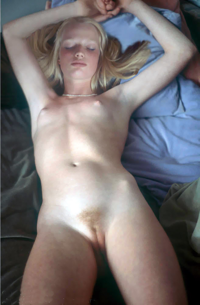 Blond sexy kitten lied in the bed sleeping naked with nice sultry tits and great shaved pussy