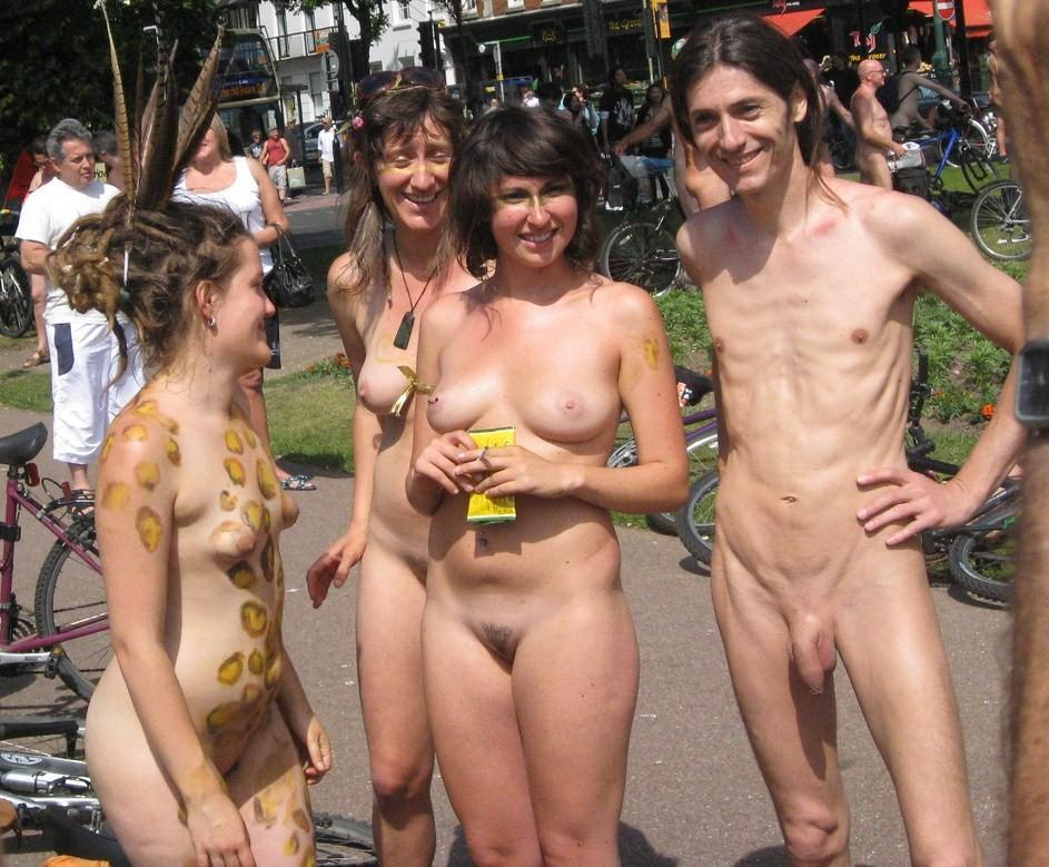 Naked girls with body painting and shaved pussy one skinny male with huge bald penis