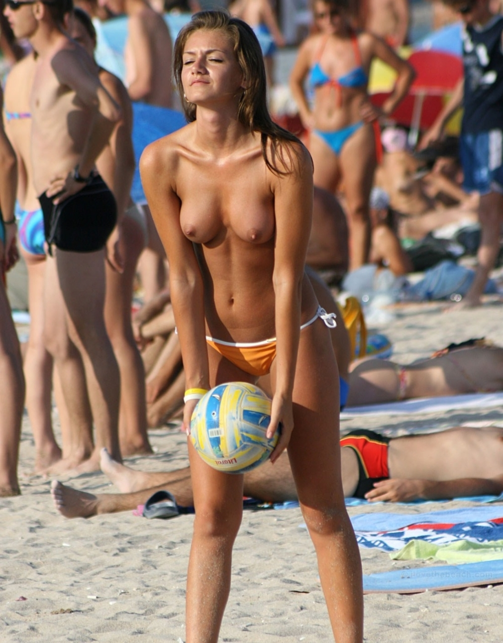 Topless and hot volleyball player has really nice tits