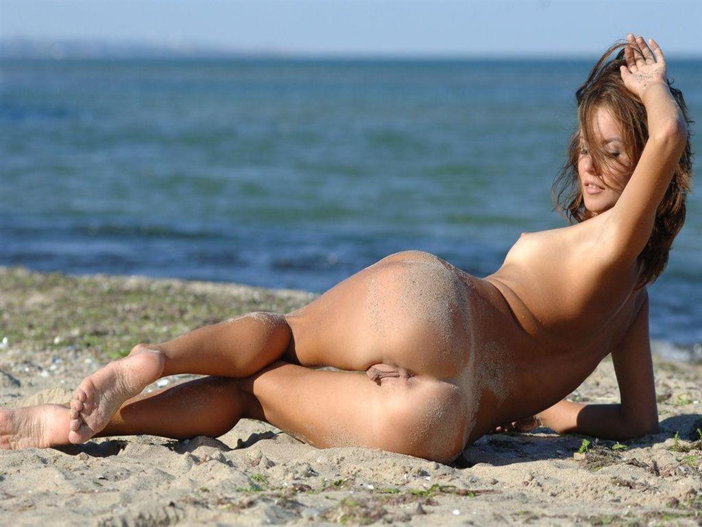 Puss girl on beach