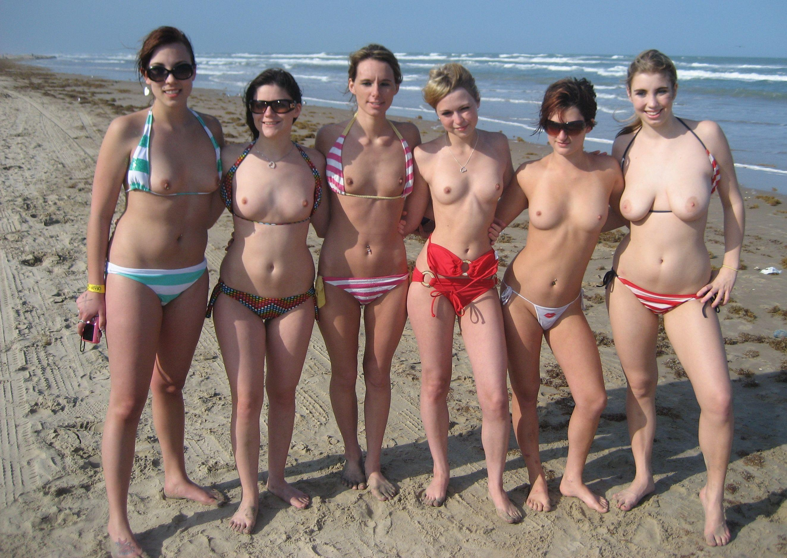 Public topless beach girls