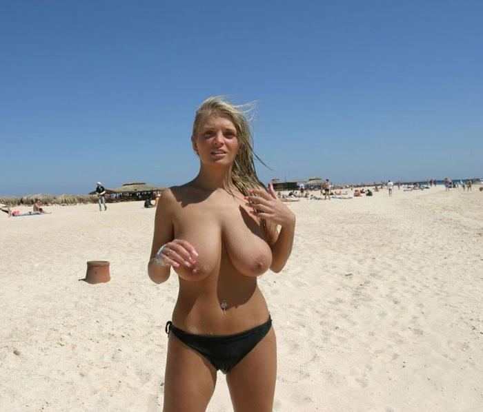 Beach big tits